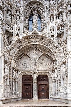 Decorated Manueline Gothic doorway to the Mosteiro dos Jeronimos (Hieronymites Monastery), UNESCO World Heritage Site, Belem, Lisbon, Portugal, Europe