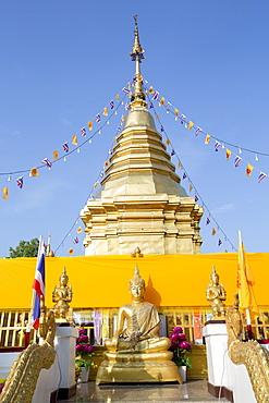 Temple chedi (stupa) at Doi Kham (Wat Phra That Doi Kham) (Temple of the Golden Mountain), Chiang Mai, Thailand, Southeast Asia, Asia