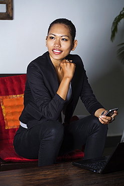 Young South East Asian, Cambodian business woman, Cambodia, Southeast Asia, Asia