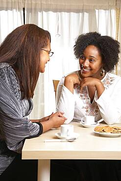 African American mother and daughter talking