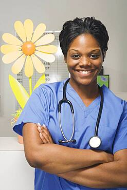 Close up of African female nurse in hospital