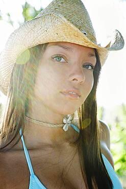 Portrait of African woman wearing cowboy hat