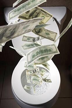 Dollar bills falling into toilet