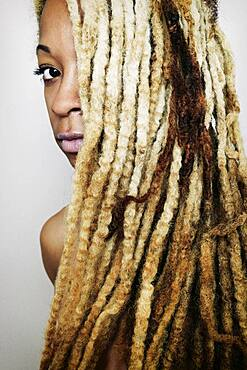 Close up of Black woman with dreadlocks