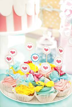 Plate of cupcakes at birthday party
