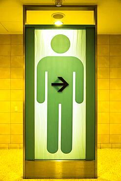 Green restroom sign for men