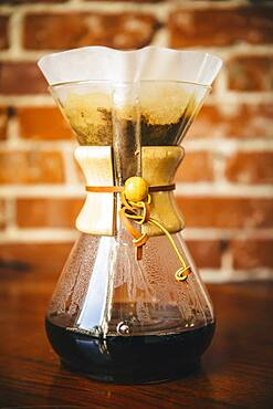 Close up of pour-over coffee maker