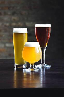 Various beers on table