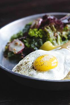 Close up of plate of fried egg and salad