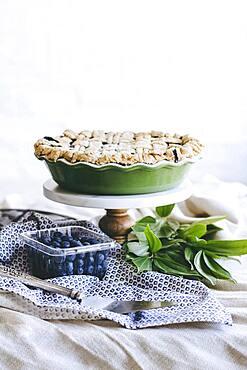Blueberry pie on platter