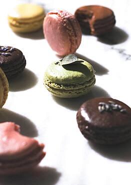 Variety of macaroon cookies