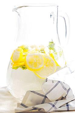 Pitcher of herbal lemon water