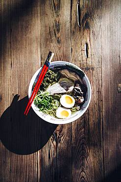 High angle view of bowl of ramen