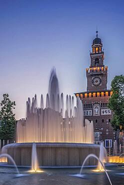 Ornate fountain near clock tower, Milano, Lombardia, Italy
