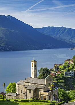 Aerial view of waterfront church and Lake Como, Argegno, Italy