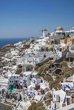 Aerial view of Santorini cityscape, Cyclades, Greece