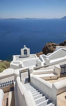 High angle view of Santorini church tower, Cyclades, Greece
