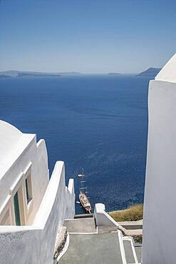High angle view of Santorini buildings and ocean, Cyclades, Greece