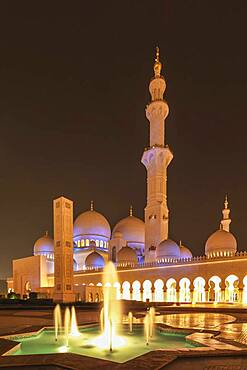 Ornate domed building and spires with fountain, Abu Dhabi, Abu Dhabi Emirate, United Arab Emirates