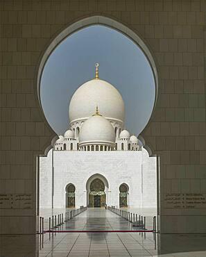 Ornate domed building and keyhole archway, Abu Dhabi, Abu Dhabi Emirate, United Arab Emirates