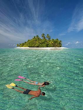 Caucasian couple snorkeling off tropical island