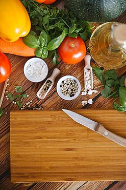 Ingredients for salad near cutting board