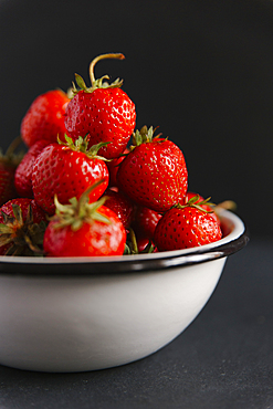 Close up of bowl of strawberries