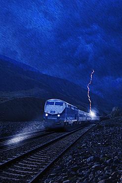 Lightning striking train in rain