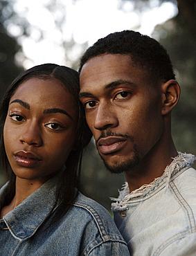 Portrait of serious couple
