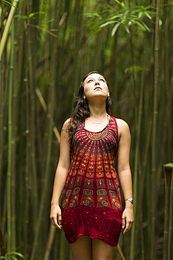 Caucasian woman standing in bamboo forest and looking up