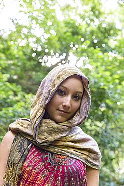 Portrait of Caucasian woman wearing headscarf
