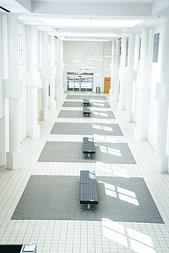 Benches in empty lobby