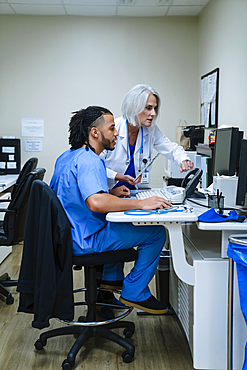 Doctor and nurse using computer
