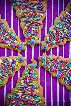 Festive Christmas tree cookies with multicolor icing