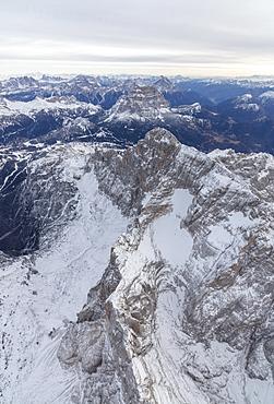 Aerial view of the rocky peaks of Monte Civetta, Ampezzo, Dolomites, Province of Belluno, Veneto, Italy, Europe