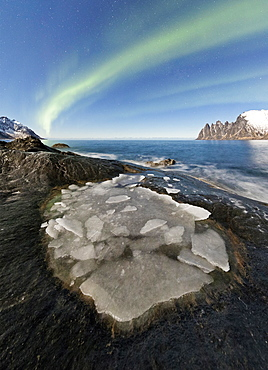 The Northern Lights (aurora borealis) illuminate the rocky peaks and icy sea in the polar night, Tungeneset, Senja Troms, Norway, Scandinavia, Europe