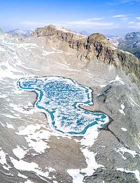 Panoramic of Lej Lagrev during the thaw, St. Moritz, Engadine, Canton of Graubunden, Switzerland, Europe
