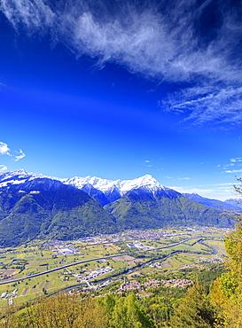 Snowy peaks of Rhaetian Alps in spring seen from Prati Nestrelli, Civo, province of Sondrio, Valtellina, Lombardy, Italy, Europe