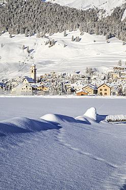 The village of Celerina by Saint Moritz in Engadine, Switzerland, Europe