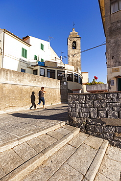 Bell tower of the church of San Piero in Campo, Campo nell'Elba, Elba Island, Livorno Province, Tuscany, Italy, Europe