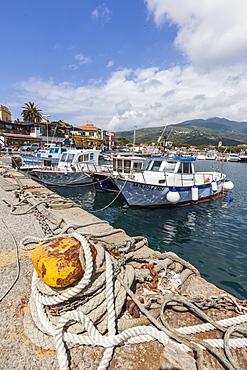 Boats moored in the harbor, Marina Di Campo, Elba Island, Livorno Province, Tuscany, Italy, Europe