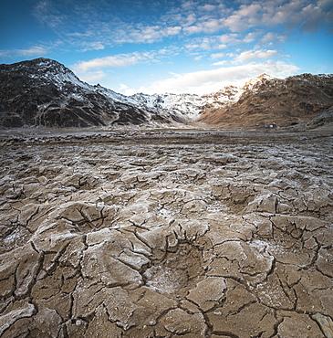 Panoramic of frozen soil of Montespluga, Chiavenna Valley, Sondrio province, Valtellina, Lombardy, Italy, Europe