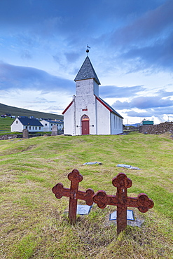 Church of Vidareidi and graveyard, Vidoy Island, Faroe Islands, Denmark, Europe