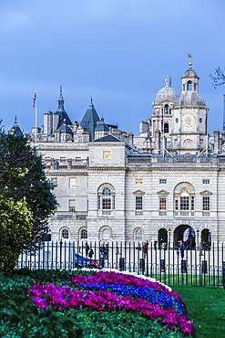 View of The Royal Horseguards, and colorful flowerbed, London, England, United Kingdom, Europe