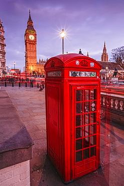 Typical English red telephone box near Big Ben, Westminster, London, England, United Kingdom, Europe