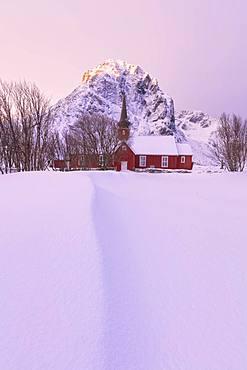 Flakstad church, Lofoten Islands, Nordland, Norway, Europe