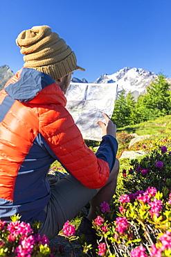 Hiker looking at map, Scermendone Alp, Sondrio province, Valtellina, Rhaetian Alps, Lombardy, Italy, Europe