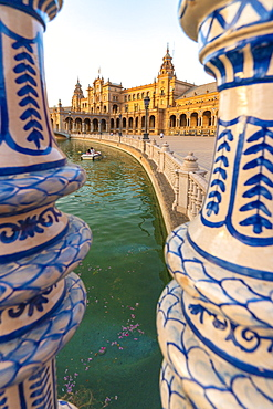 Close-up of pillars of a glazed ceramic balustrade along the canal, Plaza de Espana, Seville, Andalusia, Spain, Europe