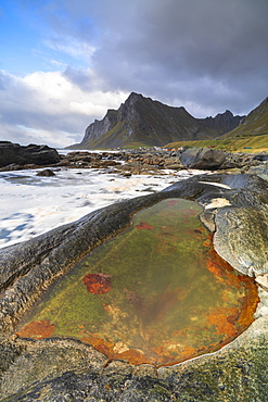 Rock pool on beach in Vikten, Lofoten Islands, Norway, Europe