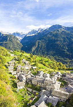 Town of Soglio by mountains Piz Cengalo and Badile in Switzerland, Europe